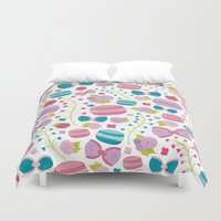 macaroons Duvet Covers featuring French Macaroons, Bows and Roses by Little Franck