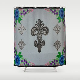 Fluer de lis (cool) Shower Curtain