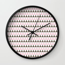 Pink and brown triangles Wall Clock