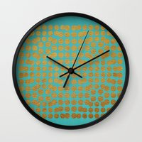 gold dots Wall Clocks featuring Gold Dots on Turquoise by Sandra Arduini