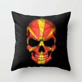 Dark Skull with Flag of Macedonia Throw Pillow