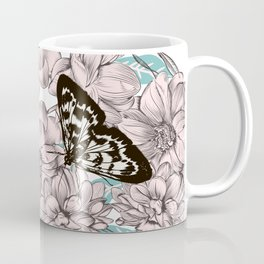 Spring vector illustration with flowers and butterflies  Coffee Mug