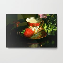 Milk and a strawberry Metal Print