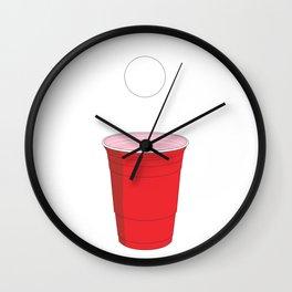 Beer Pong Illustration Wall Clock