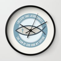 christian schloe Wall Clocks featuring Christian Believers by politics