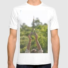 The World On My Shoulders White Mens Fitted Tee MEDIUM