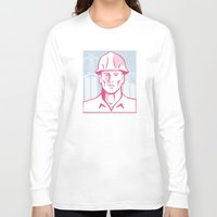 engineer Long Sleeve T-shirts featuring Construction Engineer Worker Hardhat by retrovectors