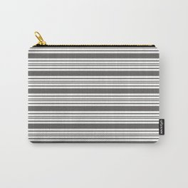 Pantone Pewter Gray & White Thick and Thin Horizontal Lines Bold Stripe Pattern Carry-All Pouch