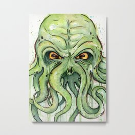 Cthulhu HP Lovecraft Green Monster Tentacles Metal Print