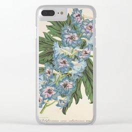 Delphinium Wseo Coelestinum Vintage Botanical Floral Flower Plant Scientific Clear iPhone Case