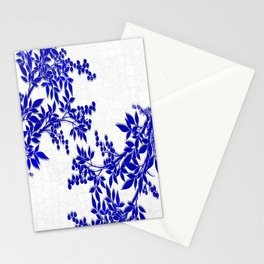BLUE AND WHITE  TOILE LEAF Stationery Cards
