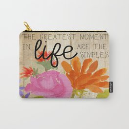 Watercolor Flowers with Saying Carry-All Pouch