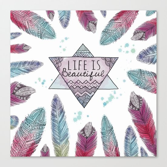 Life is beautiful (watercolor boho feathers) Canvas Print