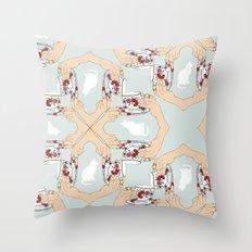Tea and Cat Pattern Throw Pillow