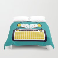 depeche mode Duvet Covers featuring Radio Mode Love by Picomodi