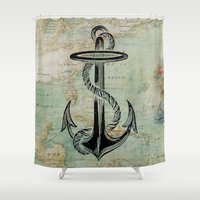 anchors Shower Curtains featuring Anchors Away! by MY  HOME