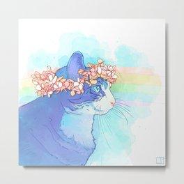 Cat with Flower Crown Metal Print