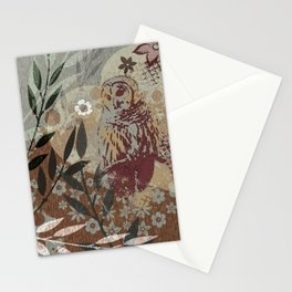 Graphic Barred Owl Nature Collage Art Stationery Cards