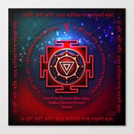 Kali Yantra with the Great Fifteen-Syllable Mantra Canvas Print
