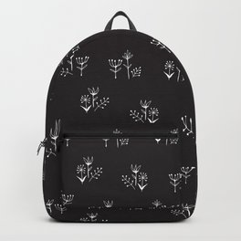tiny white floral clusters on black Backpack