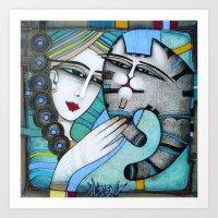 hug Art Prints featuring HUG by ALBENA