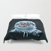spaceman Duvet Covers featuring Zombie Spaceman by Bryan Politte