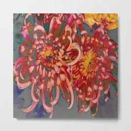 Chrysanthemum-Red/Pink/Yellow Metal Print