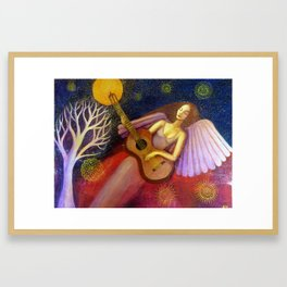 Angel and Guitar Framed Art Print