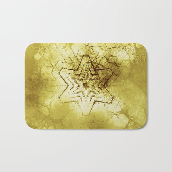 Star mandala in gold Bath Mat