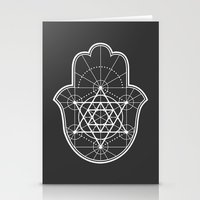 sacred geometry Stationery Cards featuring Sacred Geometry Hamsa by Megan Carty