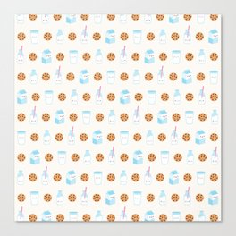 Milk and Cookies Pattern on Cream Canvas Print