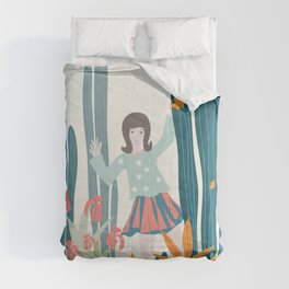 Waving Girl in a Pot Comforters