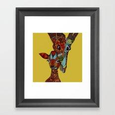 giraffe love ochre Framed Art Print