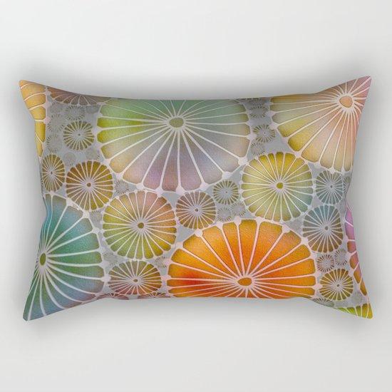 Abstract Floral Circles 4 Rectangular Pillow