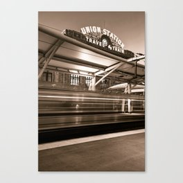 Morning Departure at Union Station in Denver LoDo District - Sepia Canvas Print