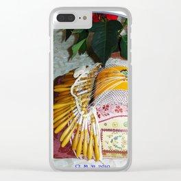 Carreau de dentellière du Val d'Allier et plante fleurie Clear iPhone Case