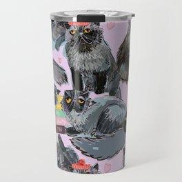 Freddy- Cat pattern in soft Pink Travel Mug