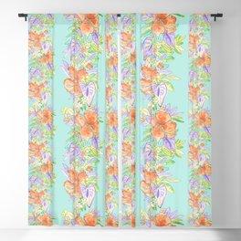 tropical hawaiian flowers aqua Blackout Curtain