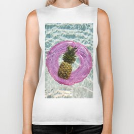Floating with Inner Tube on Cool Sunny Water Pineapple Fruit Summer Happiness Pop Art Modern Print Biker Tank