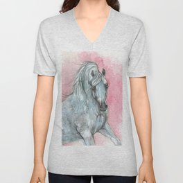 arabian horse on pink background Unisex V-Neck