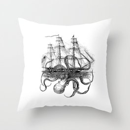 Octopus Attacks Ship on White Background Throw Pillow