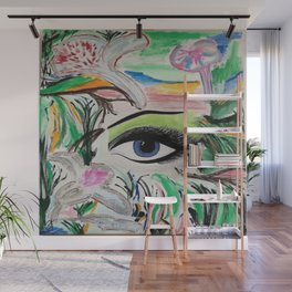 The Rain Forest Original Painting by Jodi Tomer. Blue Eye Abstract Artwork. Wall Mural