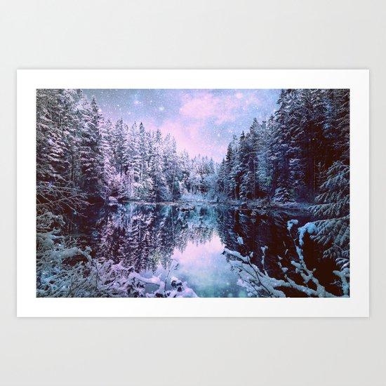 Lavender Blue Winter Wonderland Forest Art Print