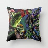 teenage mutant ninja turtles Throw Pillows featuring Teenage Mutant Ninja Turtles by artbywilliam