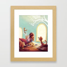 Snow White and the Seven Doggies Framed Art Print