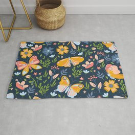 Colorful Cute Butterflies and Floral Elements Rug