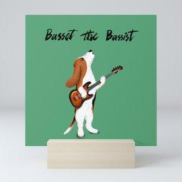 Basset the Bassist (Green) Mini Art Print