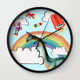 """busy skies"", thought the dinosaur Wall Clock"