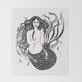 Angry Mermaid Ink Drawing Throw Blanket