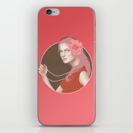 Girl Holding a Pearl Necklace iPhone Skin